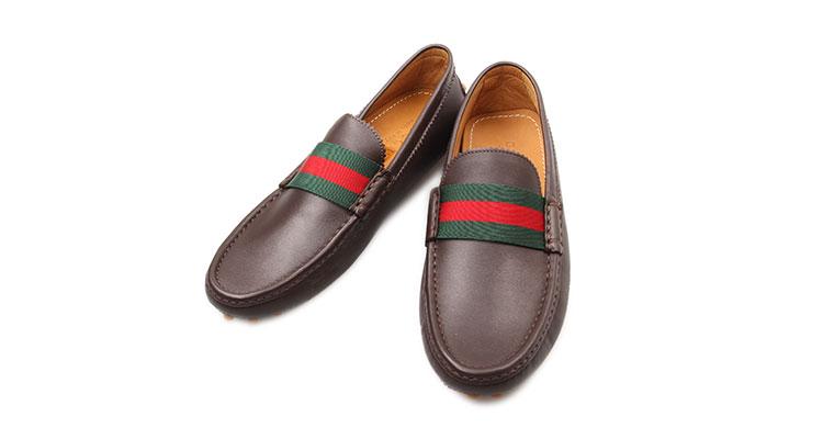 gucci(古驰) 棕色红绿条纹皮鞋8.5